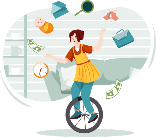 Busy woman with workload concept Illustration