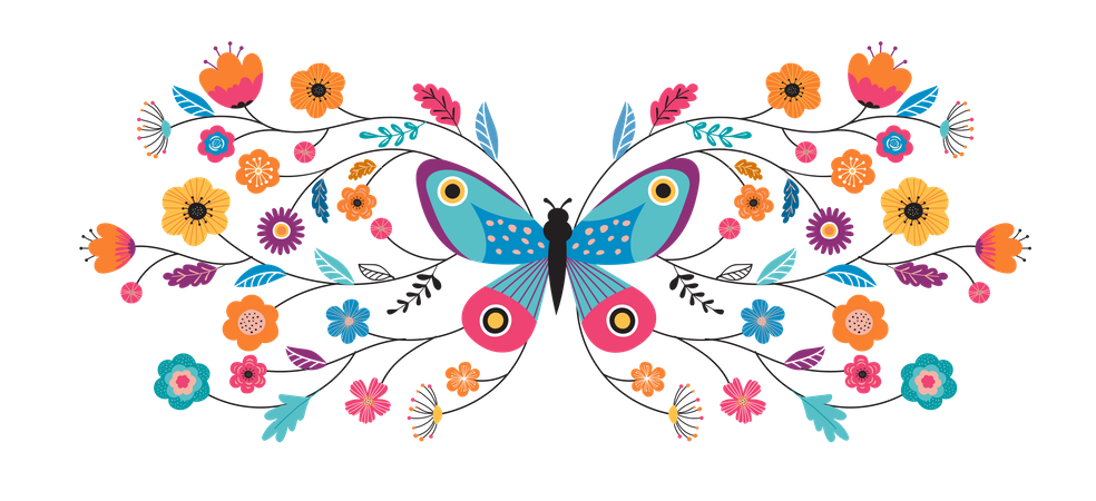 Butterfly and flowers Illustration