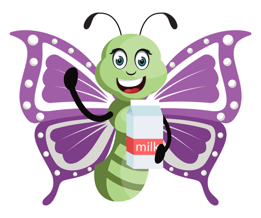 Butterfly with milk Illustration