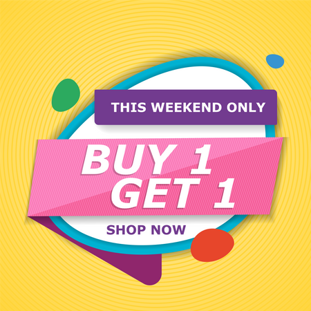 Buy 1 get 1 free this weekend shopping offer Illustration