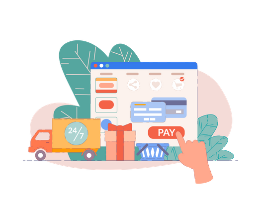 Buy from laptop on web shop concept Illustration