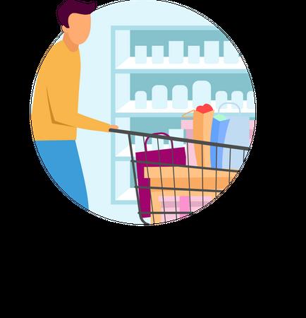 Buyer at supermarket Illustration