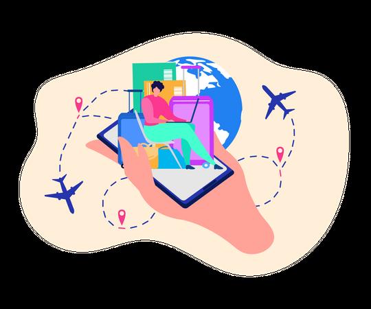 Buying Flight Tickets in Internet Illustration