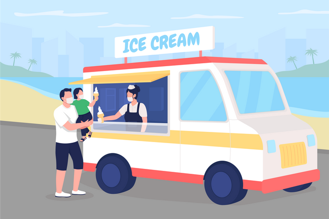 Buying ice cream on beach during pandemic Illustration