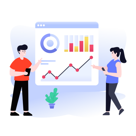 CA analyzing business report Illustration