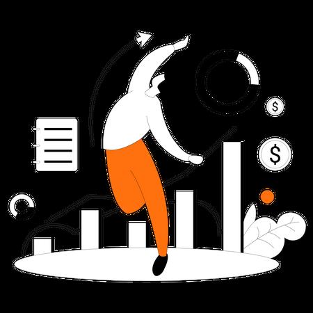 CA manages financial statistics of company Illustration