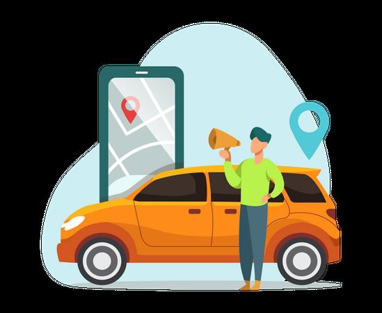 Cab booking Illustration