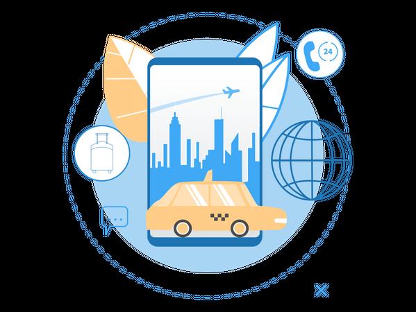 Cab Service Illustration
