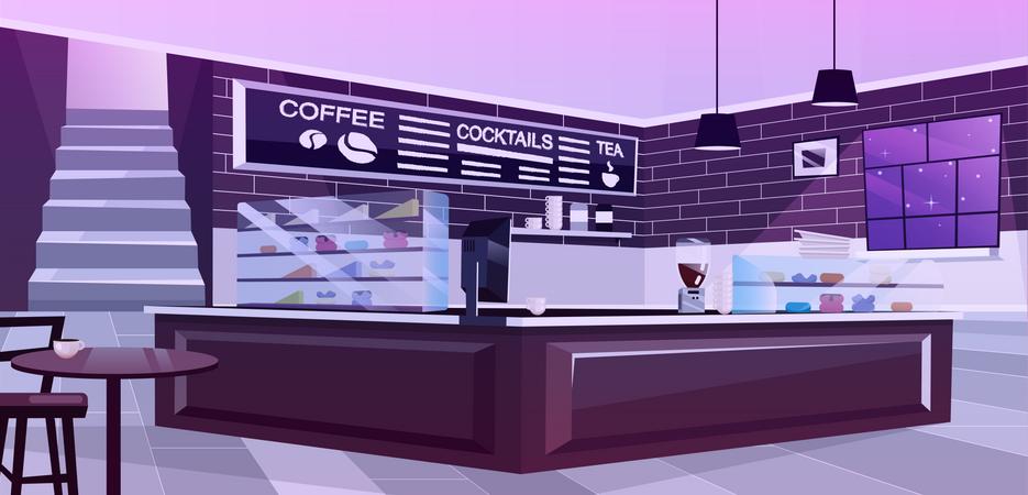 Cafe interior at night Illustration