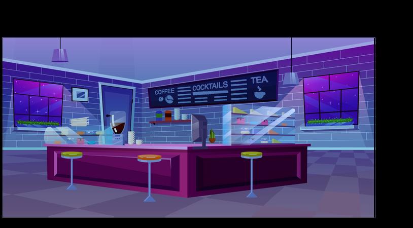 Cafe modern interior Illustration