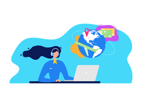 Call Center Manager in Headset, Consulting Clients on Phone, Helping Customers to Chose Company Products Online, Assisting in Tickets Booking Illustration