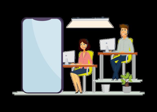 Call center operators Illustration