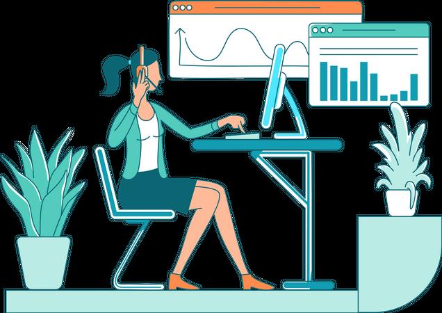 Call center worker Illustration