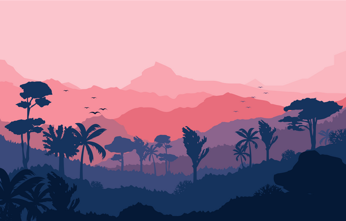 Calm Mountain Forest Illustration
