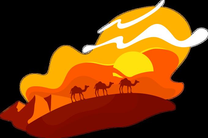 Camels walk in dunes Illustration