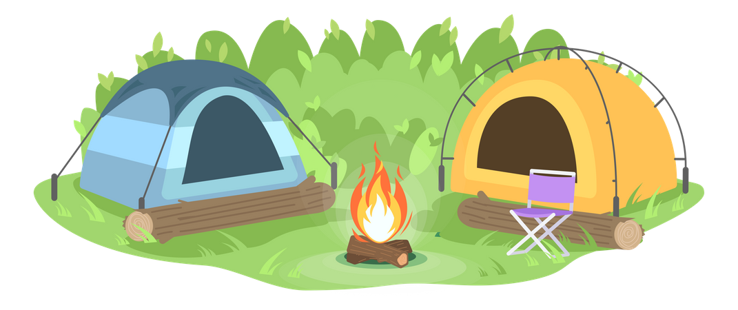 Camp in forest with bonfire Illustration