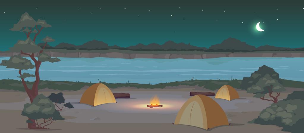 Campground at night Illustration