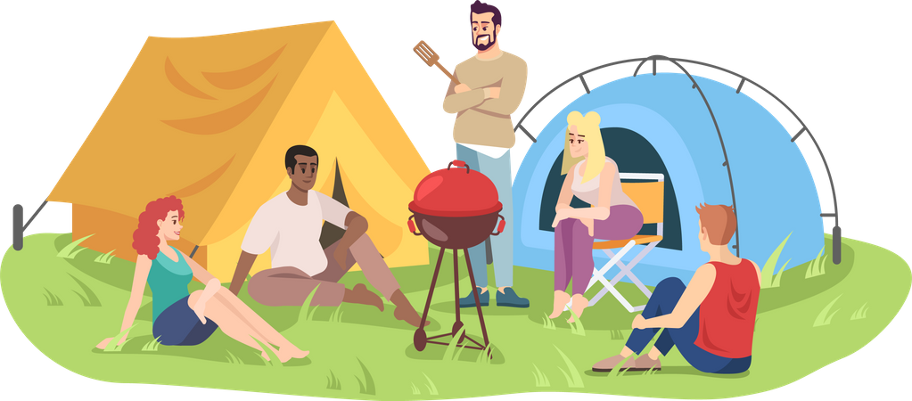 Campground with barbeque Illustration