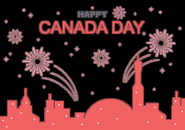 Canada Day Fireworks Illustration