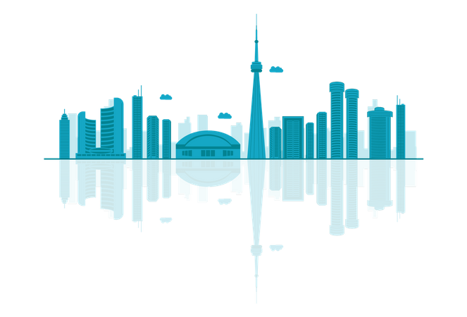 Canada Skyline silhouette with reflections Illustration