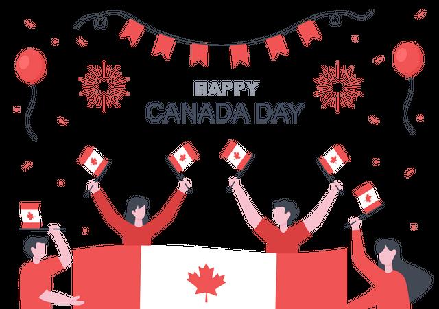 Canadian people celebrating Canada Day Illustration