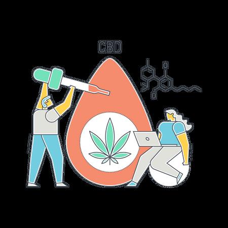 Cancer treatment using CBD oil Illustration