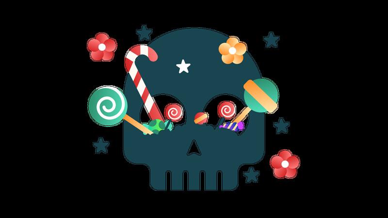Candies at the Skull Illustration