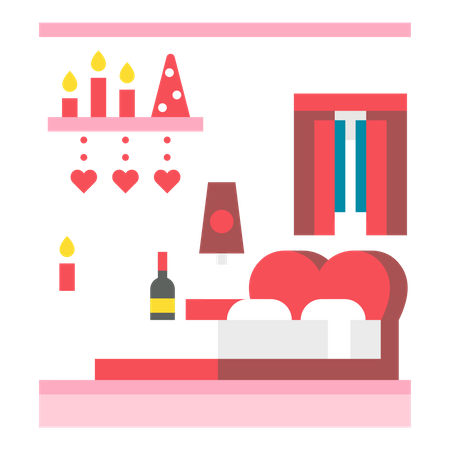 Candle light dinner Illustration
