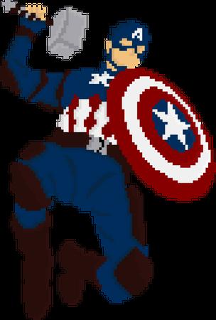Captain America Holding Mjolnir and shield Illustration