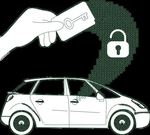 Car access using NFC card Illustration