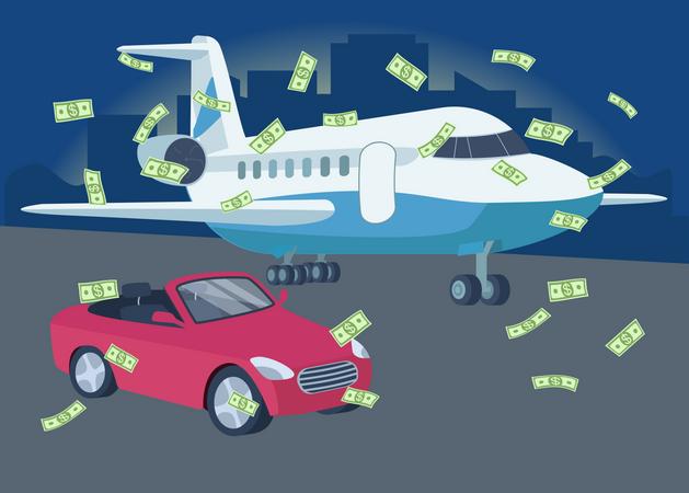 Car and plane with money rain Illustration