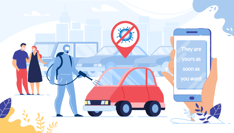 Car Buying, Renting via Smartphone on Quarantine Illustration