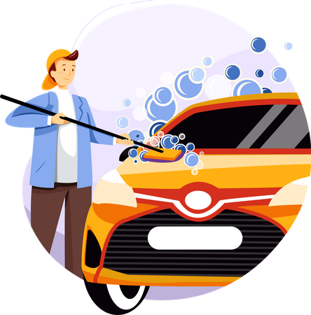 Car cleaner worker cleaning car with mop and soap bubble Illustration