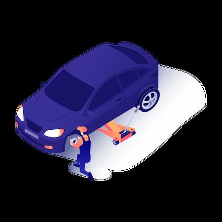 Car mechanic changing car tire Illustration