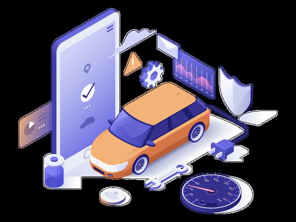 Car monitoring system Illustration
