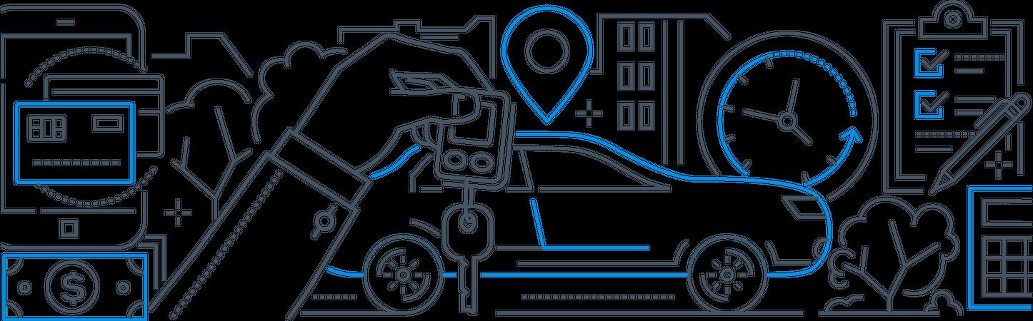 Car on rent Illustration