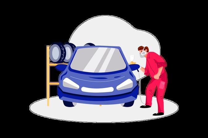 Car painting Illustration