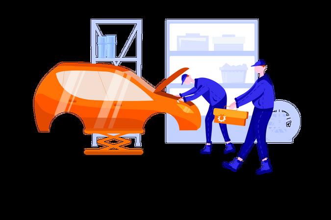 Car repair in garage by worker Illustration