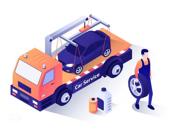 Car repairman walking with tire in his hand Illustration
