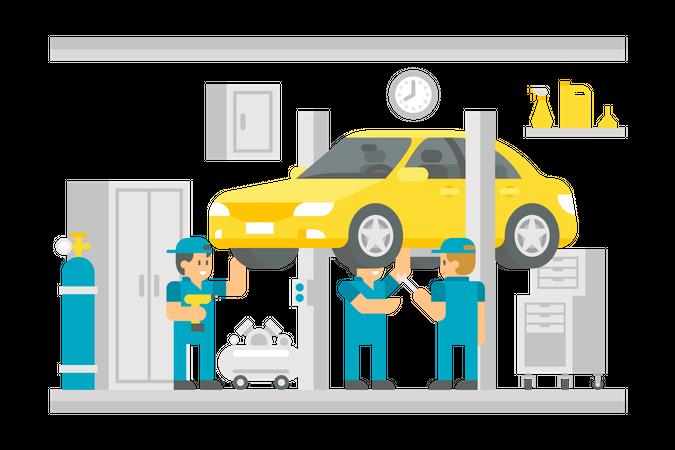 Car Service Station Illustration