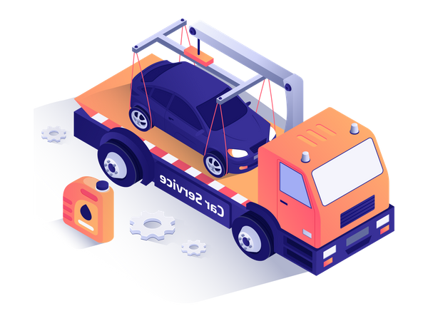 Car service truck carrying car Illustration
