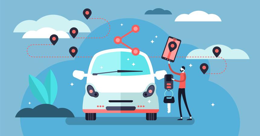 Car sharing concept Illustration