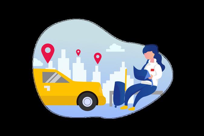 Car sharing service Illustration