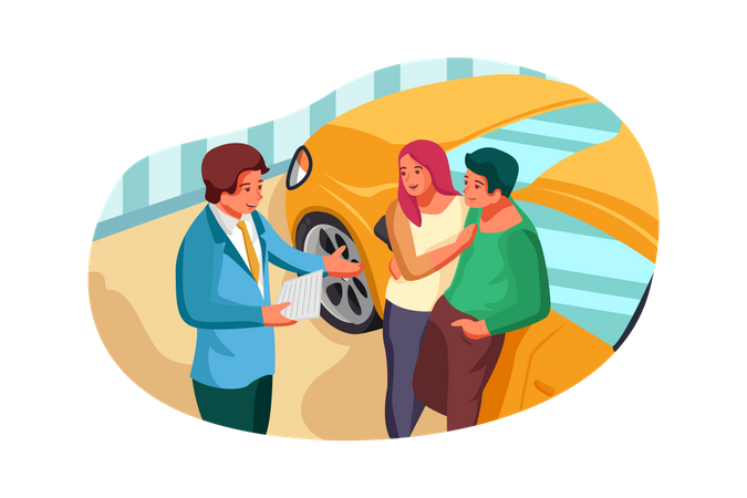Car showroom manager giving detail about car to couple Illustration