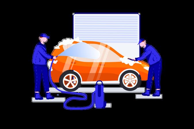 Car washing in garage Illustration