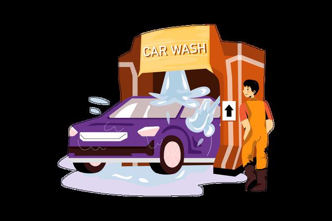 Car Washing machine Illustration