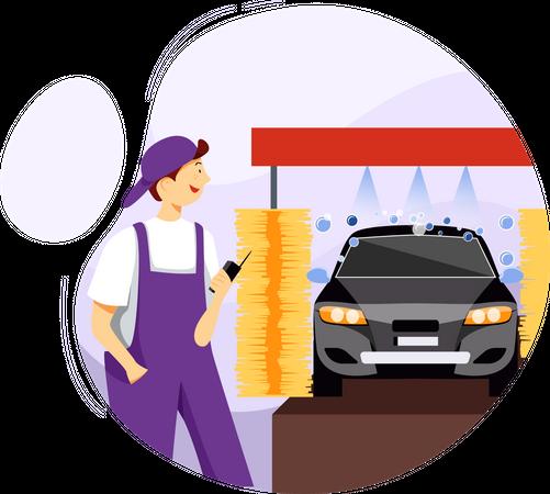 Car washing with machine Illustration
