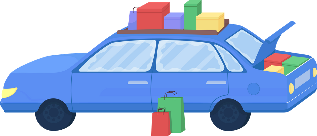 Car with purchased goods Illustration