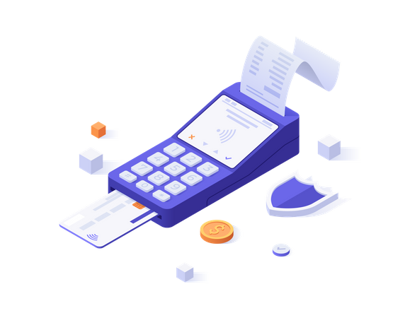 Card swiping machine Illustration
