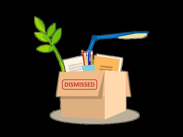 Cardboard Box Full of Personal Belongings Illustration
